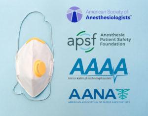 ASA, APSF, AAAA, AANA Logos with N95 Mask