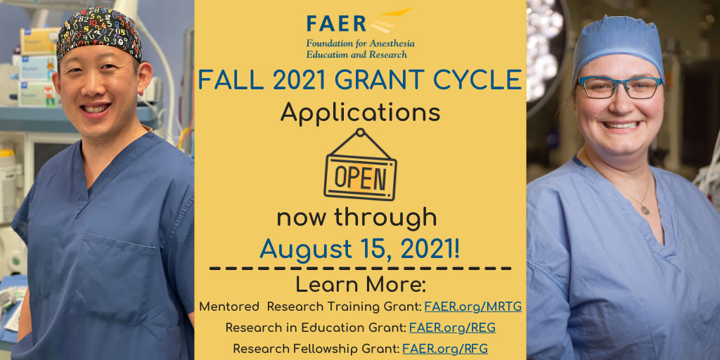 FAER Fall 2021 Grant Cycle Applications Open Now Through August 15, 2021