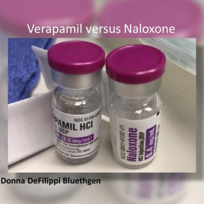 Verapamil 2.5mg/mL versus naloxone 0.4 mg/mL look-alike vials with similar maroon tops.