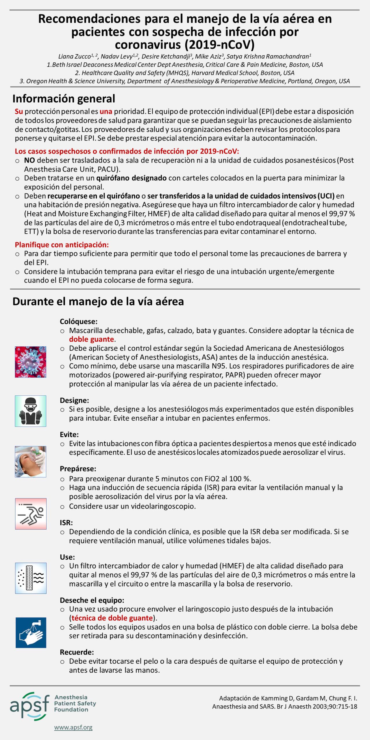 Recomendaciones para el manejo de las vías respiratorias en un paciente con sospecha de infección por coronavirus (2019-nCoV)