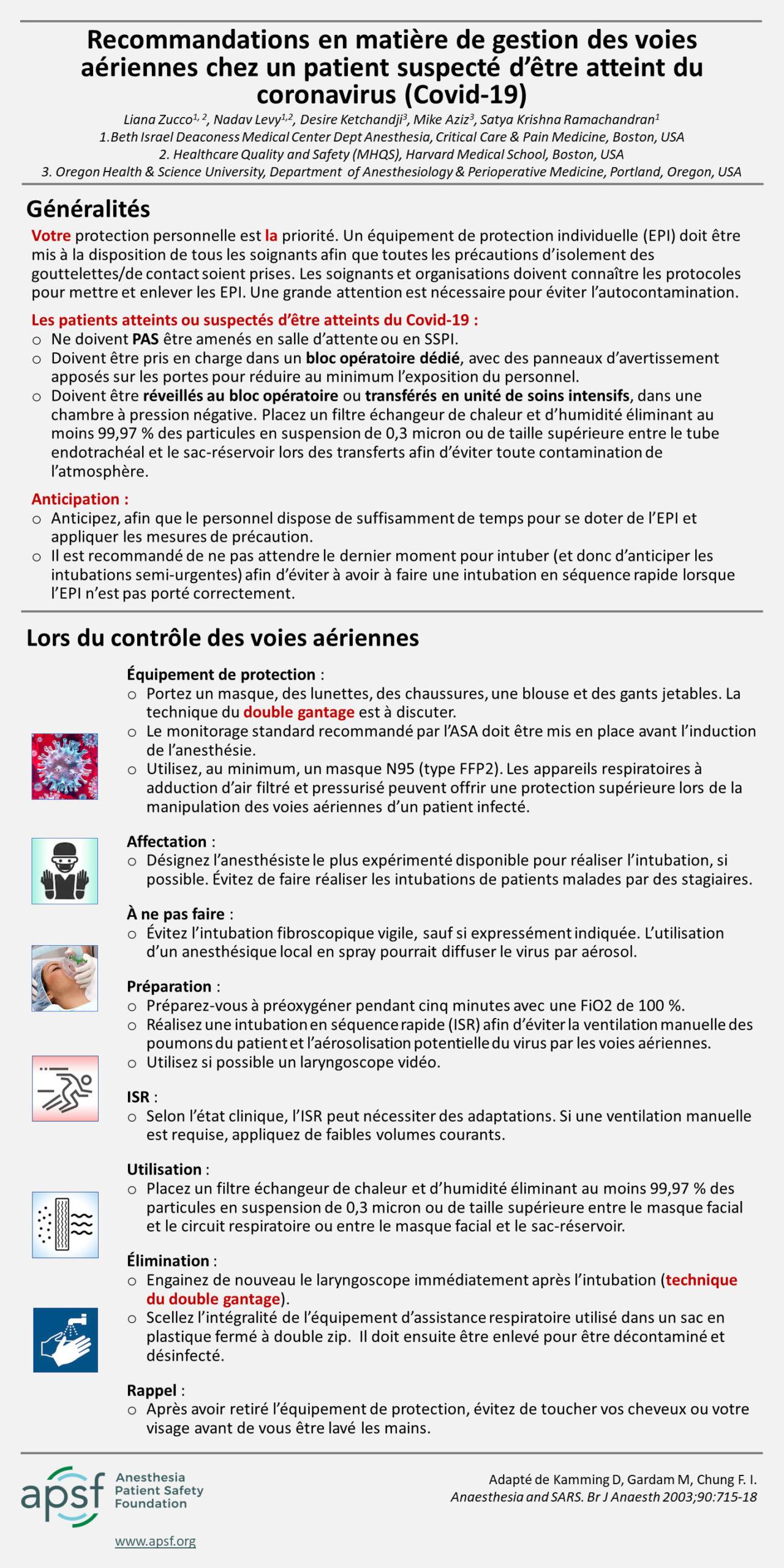 Recommandations en matière de gestion des voies aériennes chez un patient suspecté d'être atteint du coronavirus (Covid-19)