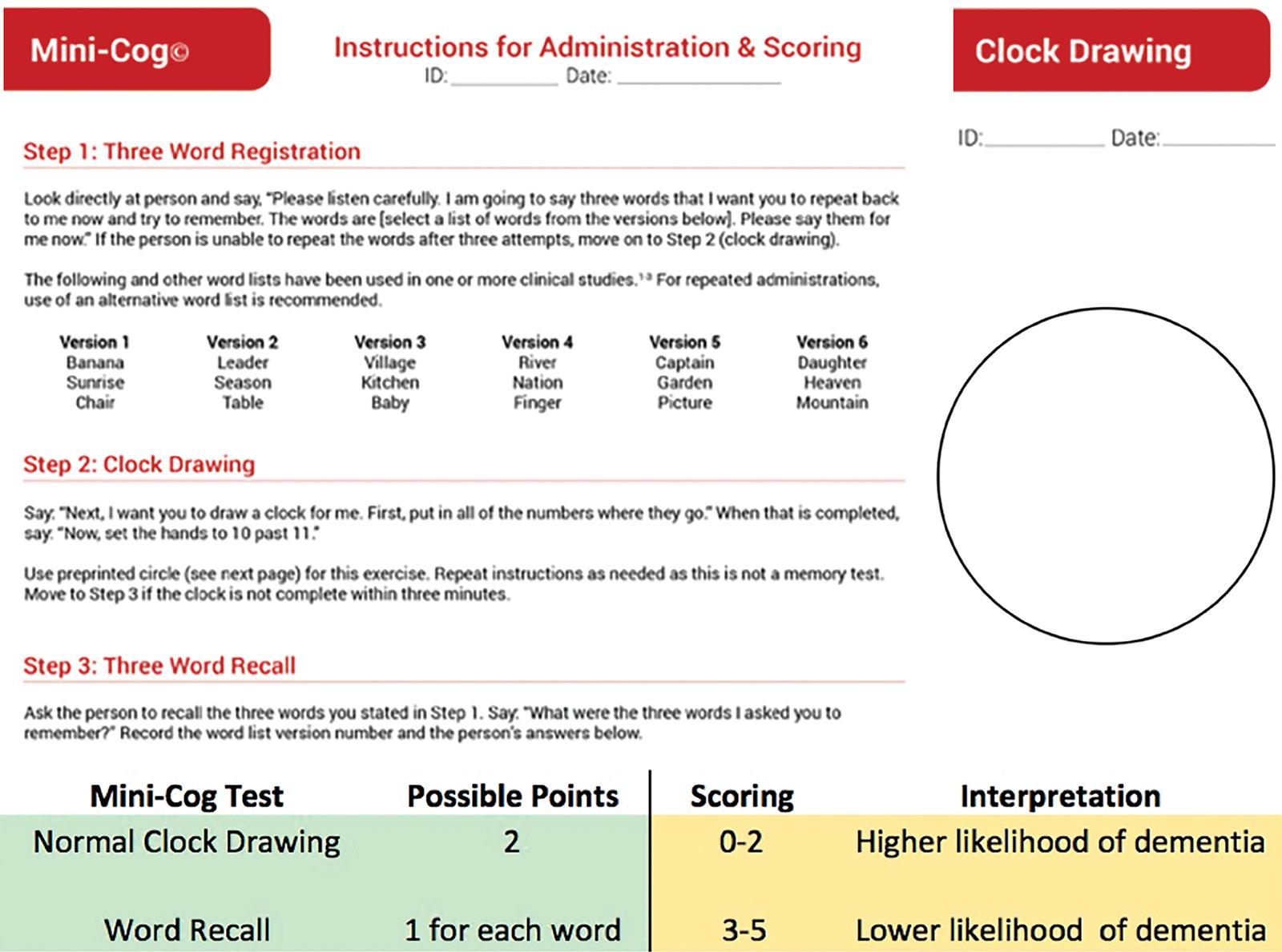 """Figura 1. Prueba de detección cognitiva breve Mini-Cog. Consta de tres pasos que incluyen un puntaje de precisión al """"dibujar un reloj"""" y """"recordar tres palabras"""" a fin de obtener un resultado acumulativo que puede favorecer la detección de deficiencias cognitivas.<br /><br />Reproducido con la autorización de Soo Borson, MD."""