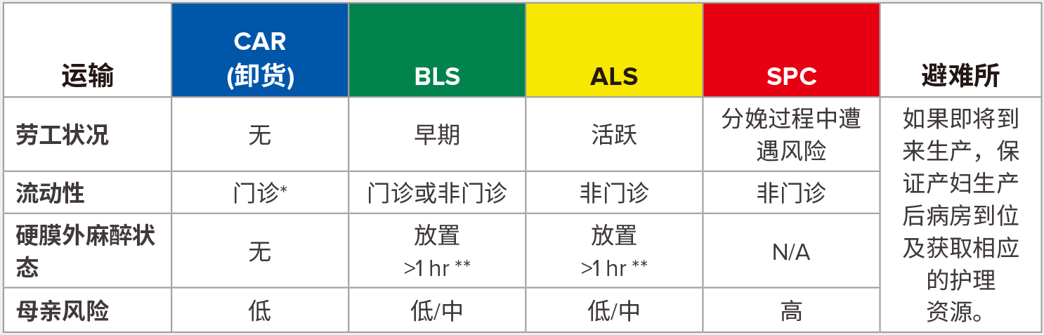 BLS = 基本生命支持 (配备急诊医护人员的救护车); ALS = 高级生命支持 (配备护理人员的救护车); SPC = 专用 (须配有医学博士或随行护士)。<br /> <br /> *能从下蹲姿势起身。<br /> <br /> **硬膜外导管加盖。