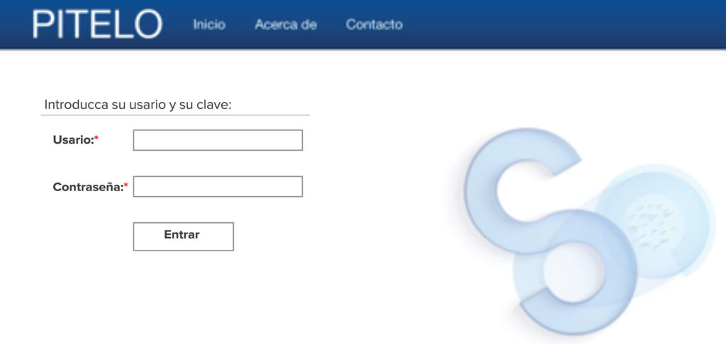 Figure 2: SENSAR's login to PITELO, its online communication and analysis platform.