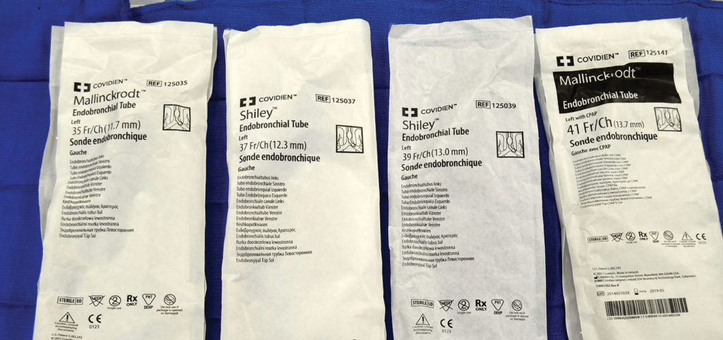 Figure 1: Examples of endobronchial diameters not indicated on Shiley or Mallinckrodt (Covidien, Mansfield, MA) DLT packaging.