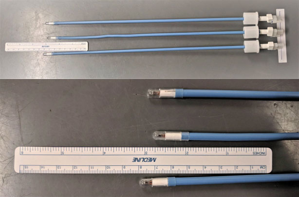 Figure 1: Example of three identically packaged Vital Signs® Orotracheal Lighted Stylets (CareFusion). The variation in length approaches one centimeter.