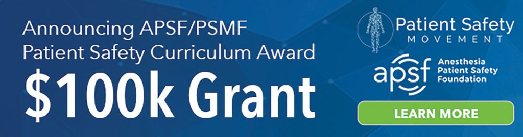 APSF/PSMF Patient Safety Curriculum Award