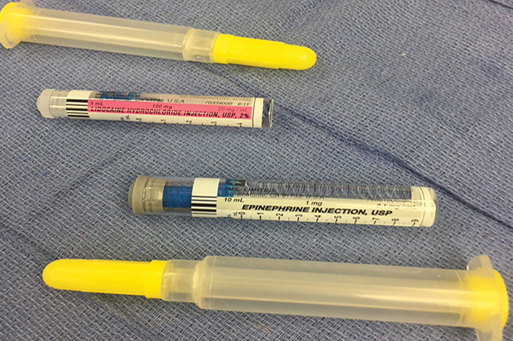 Figure 1A: Depicts the front labeling of the 2% lidocaine and epinephrine 0.1 mg/ml syringes.