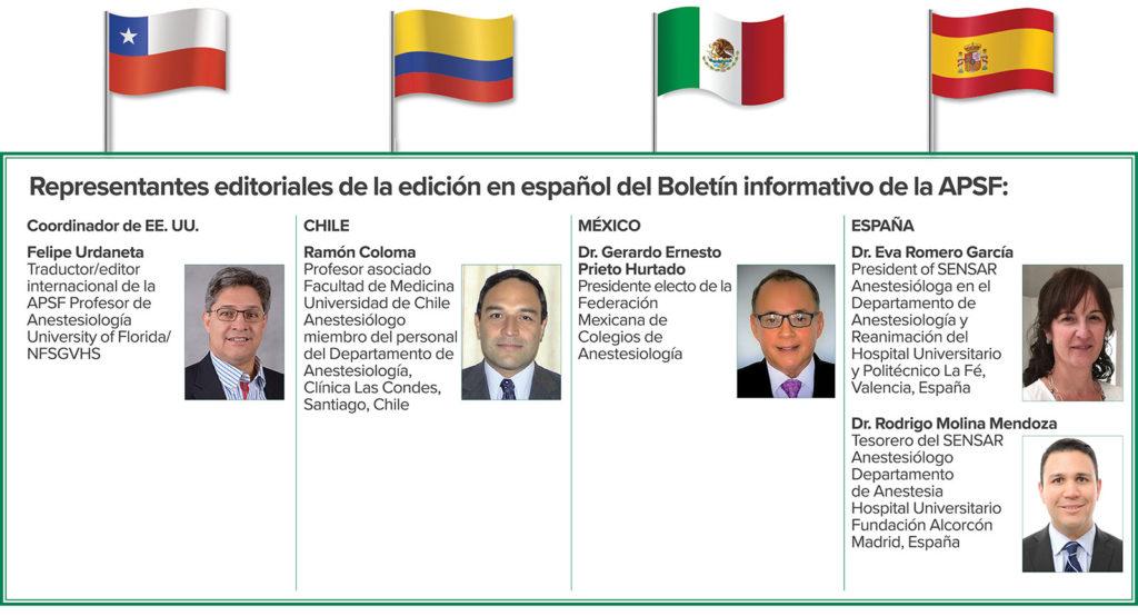Representantes editoriales de la edición en español del Boletín informativo de la APSF