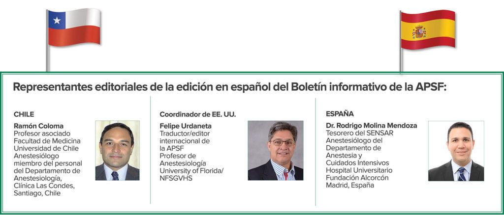 Representantes editoriales de la edición en español del Boletín informativo de la APSF: