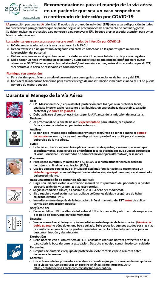 Recomendaciones para el manejo de las vías respiratorias en un paciente que sea un caso sospechoso o confirmado de infección por COVID-19