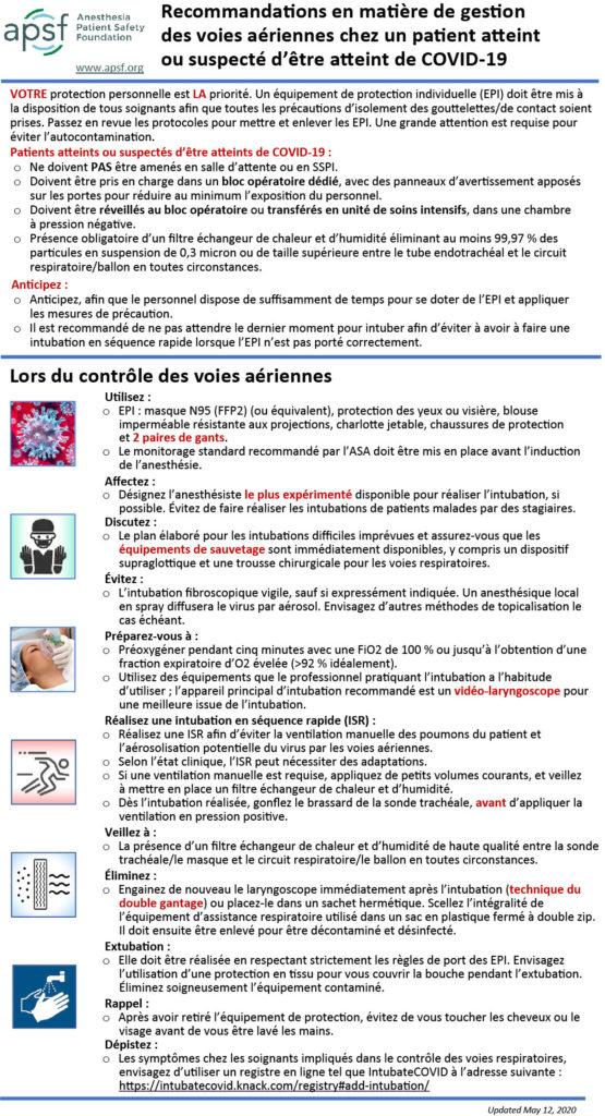 Recommandations en matière de gestion des voies aériennes chez un patient atteint ou suspecté d'être atteint de COVID-19
