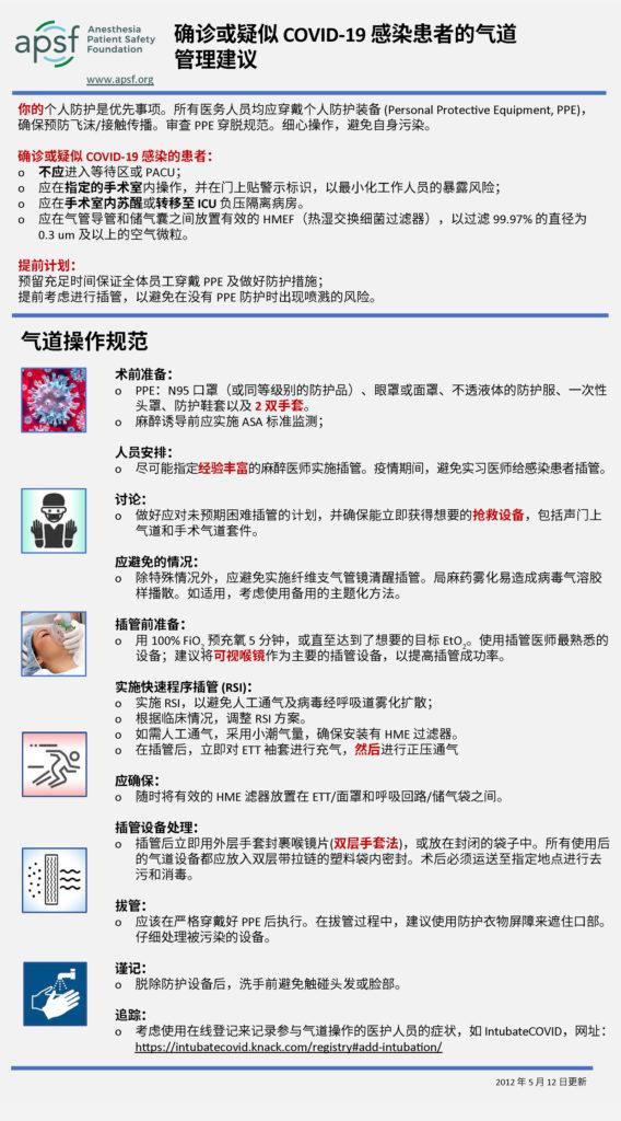 确诊或疑似 COVID-19 感染患者的气道 管理建议