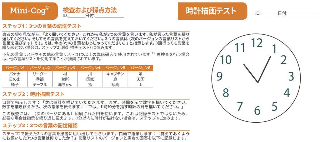図2:Mini-Cogテスト。Mini-Cog®に「時計描画テスト」と「3つの言葉の記憶確認」の2つからなり、それぞれの正確さを採点し合計点を出すことで、認知障害の検出を高めることができる。テストは合計5点で、3つの言葉の記憶確認は3点、時計は2点である。合計点が3以上の場合、認知障害の可能性が低いことを示す。Mini-Cog®の著作権、Dr. Soo Borson(許可を得て使用)。詳細については、mini-cog.comを参照。