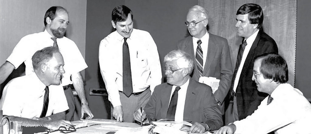 1986 – Reviewing the first issue of the APSF Newsletter, L-R: Burton Dole, Treasurer; Jeffrey Cooper, PhD, Executive Committee (EC); John Eichhorn, MD, Editor; Jeep Pierce, MD President; J.S. Gravenstein, MD, EC; James Holzer, EC; Dekle Roundtree, Vice President.