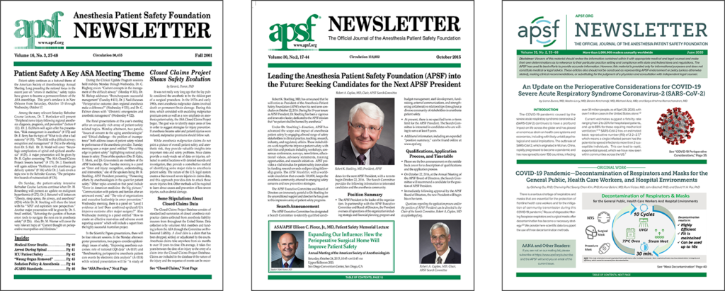 The APSF Newsletter though the years, starting with the original design under John Eichhorn; changes to the logo and format under Bob Morell; and our latest edition with the new branding under Steven Greenberg.