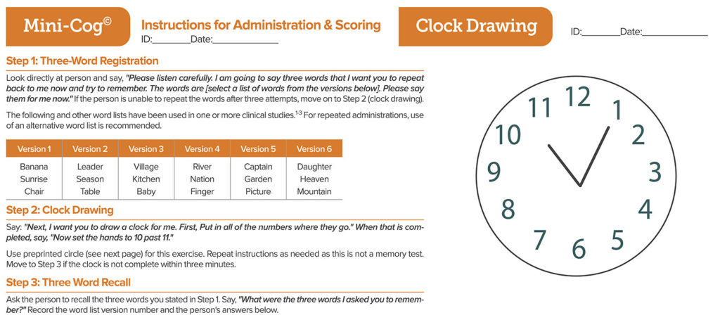 "Figure 2: The Mini-Cog test. There are two Mini-Cog® components that include a score for accuracy of ""clock drawing"" and ""three-word recall,"" resulting in a cumulative score that can increase the detection of cognitive impairment. There are a total of five possible points for the test with three possible points for the three-word recall and two points for a normal clock. A total score of three or greater indicates a lower likelihood of cognitive impairment. Mini-Cog® copyright, Dr. Soo Borson (used with permission). See mini-cog.com for more detail."