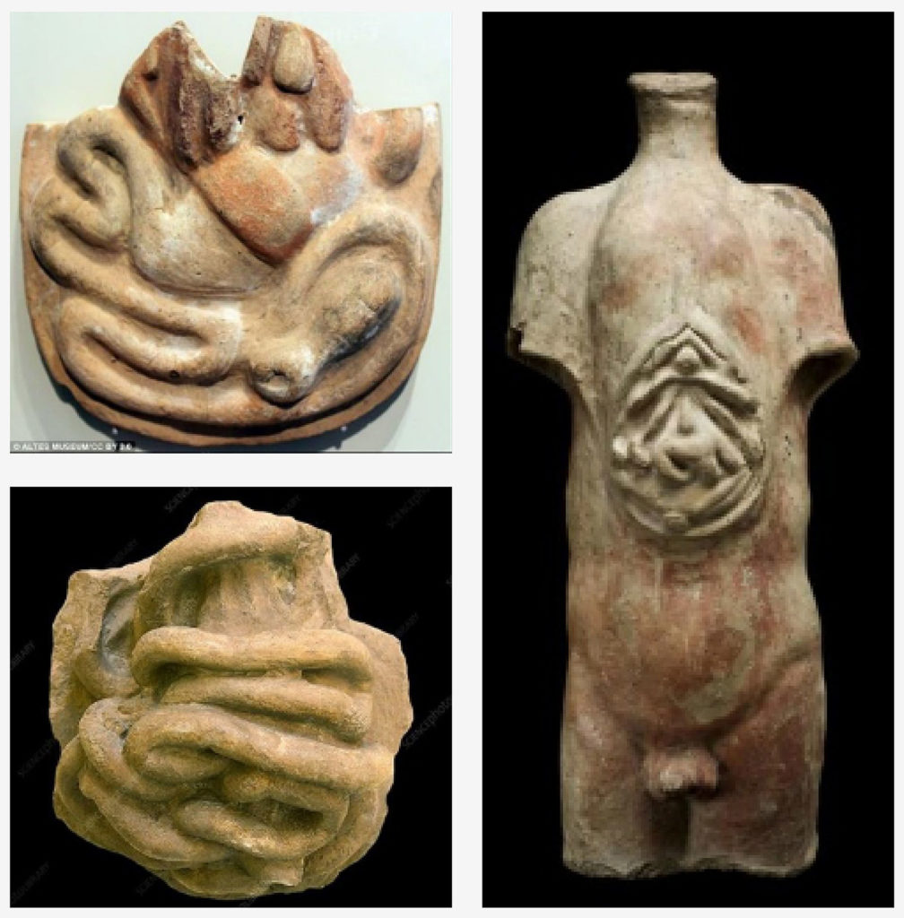 Figure 1: Ancient clay models of human anatomy recovered from sites throughout the Middle East, North Africa, and Central Asia. Left, anatomical votive offerings (Credit: Altes Museum, CC By 3.0. via Wikimedia Commons) Right, votive male torso, Roman, 200 BCE-200 CE. (Credit: Science Museum, London. Attribution 4.0 International (CC BY 4.0)