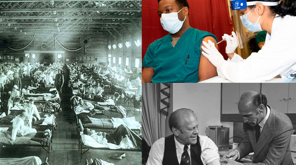 Left panel: 1918 influenza pandemic, National Museum of Health and Medicine, Armed Forces Institute of Pathology, Washington, DC, United States; Right upper panel: Army Cpt. Dr. Isaiah Horton receives COVID-19 vaccine, US Secretary of Defense; Right lower panel: US President Gerald Ford receiving swine flu vaccine, Gerald R. Ford Presidential Library;