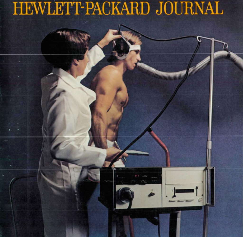 HP Company ad for an ear oximeter (1973)<br /> 8 wavelengths (650-1050nm), heated ear probe to obtain arterialization<br /> It was accurate, but large and hard to operate. It was not a monitor